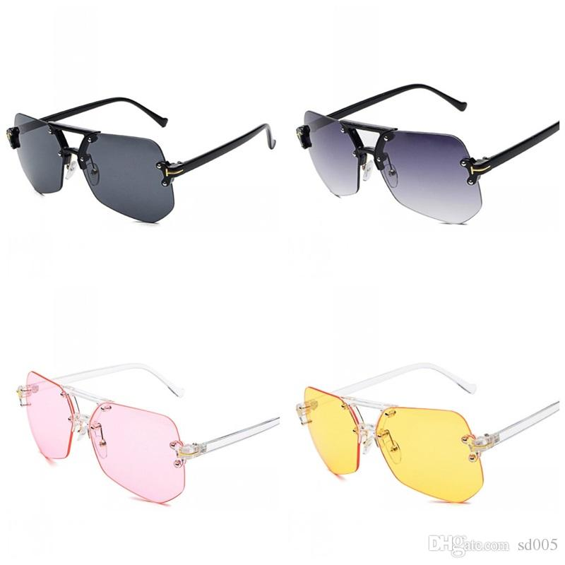 Hexagon Rimless Sunglasses Women Vintage Designer Fashion Clear Sun Glasses Ladies Oversized Shades Female Eyewear Hot Sale 23jt ZZ