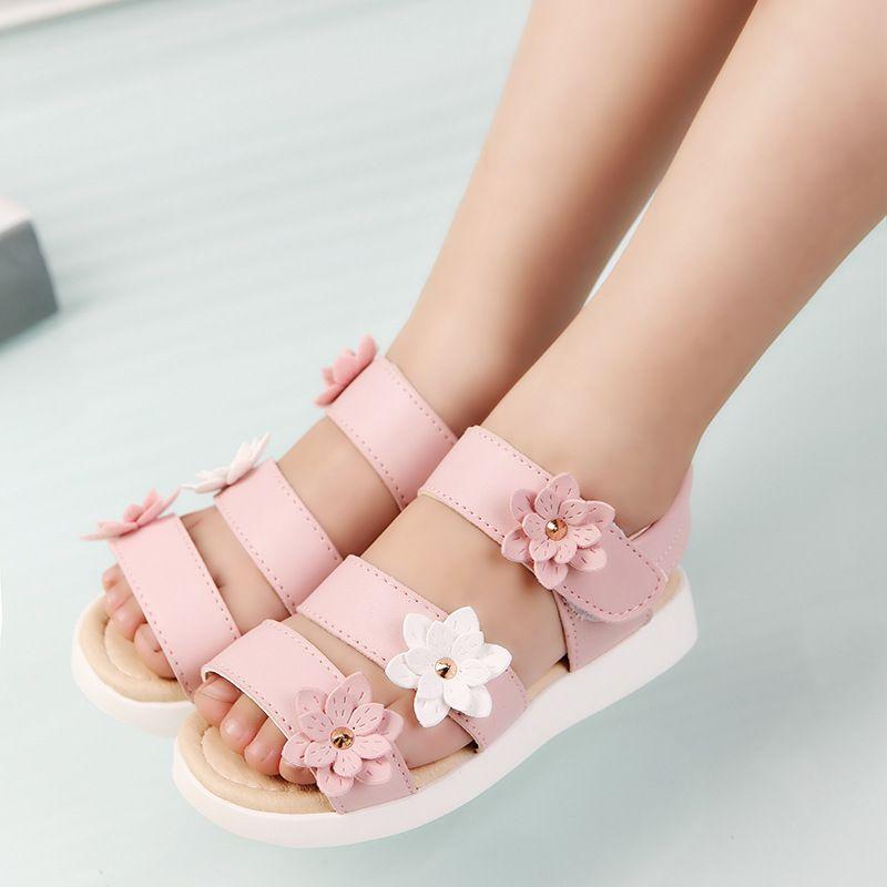 Sandali per bambini in stile estivo Bambina con bellissime scarpe da fiori per bambini Sandali piatti per bambina