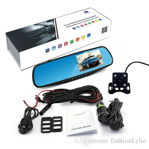 2018 New 4.3 Inch Car Dvr Camera Full HD 1080P Automatic Camera Rear View Mirror With DVR And Camera Auto Recorder Dashcam Car DVRs with box