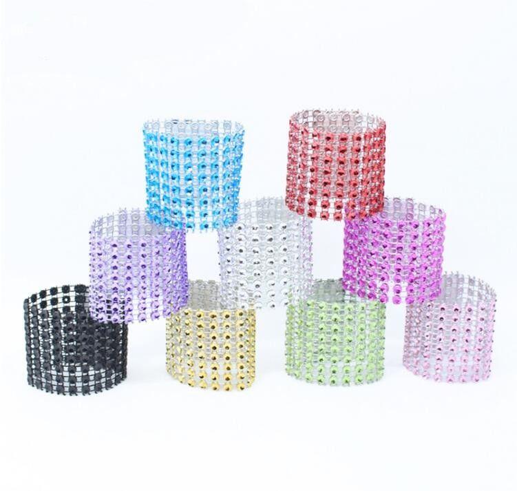 Plastikowe pierścienie serwetki Hotel Ślub / krzesło Sash Diamentowa Siatka Wrap Pierścionki Do Party Decoration Gold / Silver