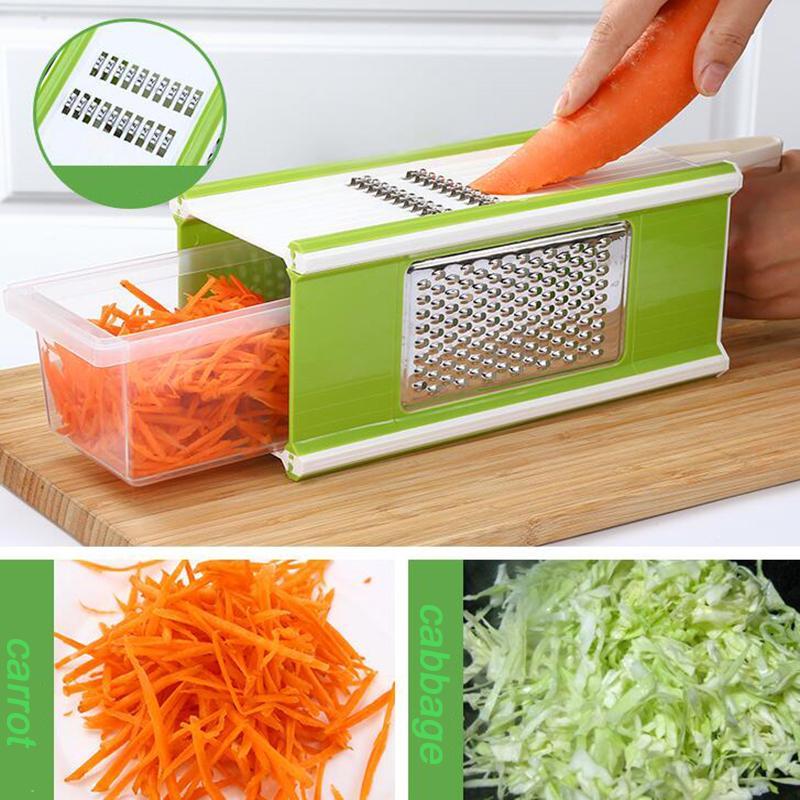 Новый Дизайн 6-в-1 Терка Box Многофункциональный Фрукты и Овощерезки Шредер Slicer Овощечистка Набор посуды С Контейнером Box