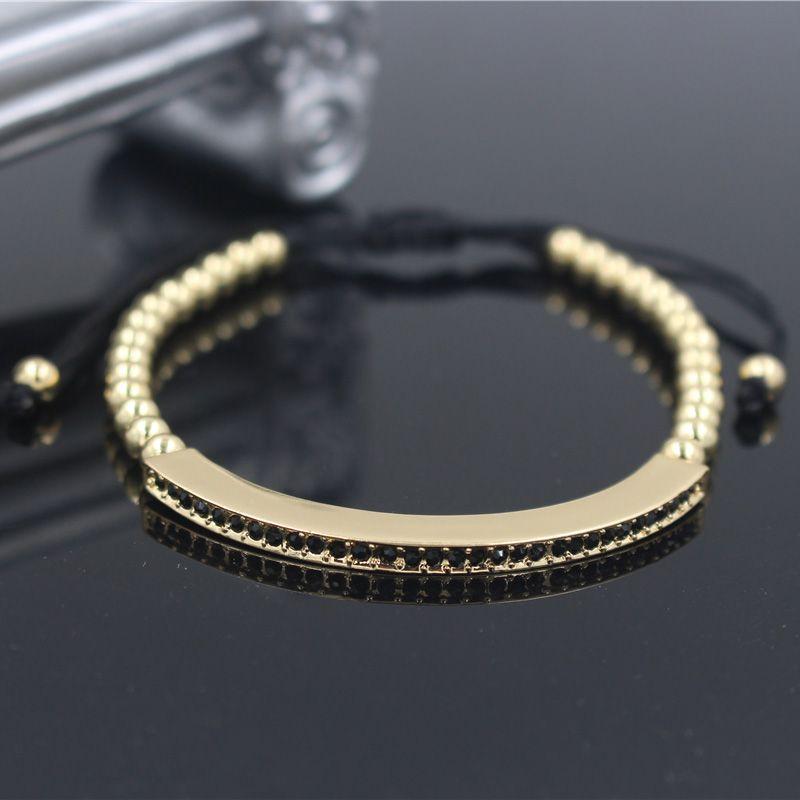 Moda Cor de Ouro Feminino Pulseiras Ajustáveis Bangles Anil Arjandas Micro Pave CZ Charme Trança Macrame Pulseira Jóias