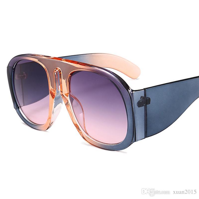 2018 Nouvelle lunettes de soleil rondes surdimensionnées femmes marque grand cadre brun lentille lunettes de soleil femme lunettes femmes chaud Oculos UV400 Y273