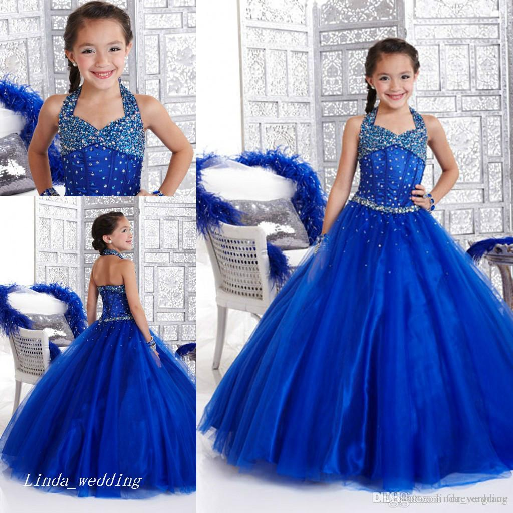 New Arrival Cute Royal Blue Girls Pageant Dress Halter Neckline Beaded Princess Party Cupcake Flower Girl Pretty Dress For Little Kid