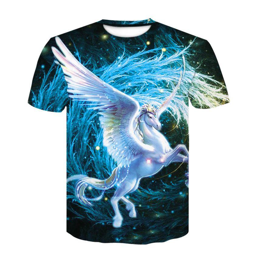 Pegasus 3D Print Cool T-Shirt Men Summer Tops Tees T Shirt Moda T Shirty