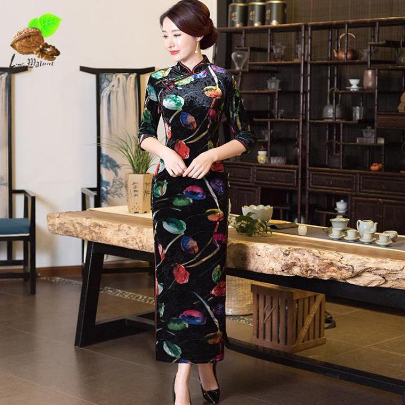 2018 New Spring Autumn Women Velor Cheongsams Lady's Vintage Fashion Qipao Abiti tradizionali cinesi orientali cheongsam