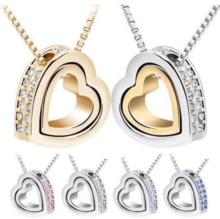 İndirim Kalp Kristal Kolye Kolye 18 K Altın Ve Gümüş Kaplama Mücevherat Jewerly Kolye Kadın Moda Takı Ücretsiz Kargo