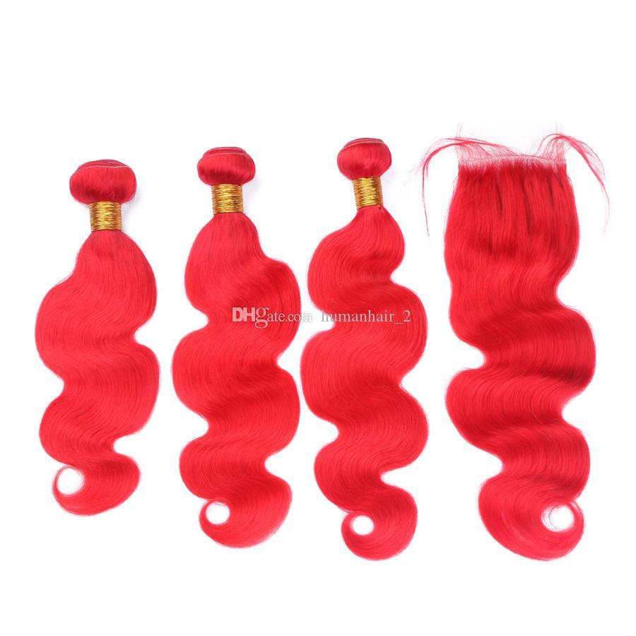 Красный цвет тела волны бразильской девственницы человеческих волос пучки ткать расширение 3 шт. с 4x4 кружева закрытия отбеленные узел красные волосы
