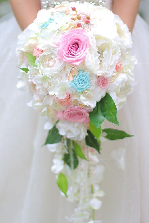 새로운 유럽 핑크 로즈 드랍스 웨딩 신부의 꽃다발 수국 쥬얼리 브 로치의 신부의 꽃다발