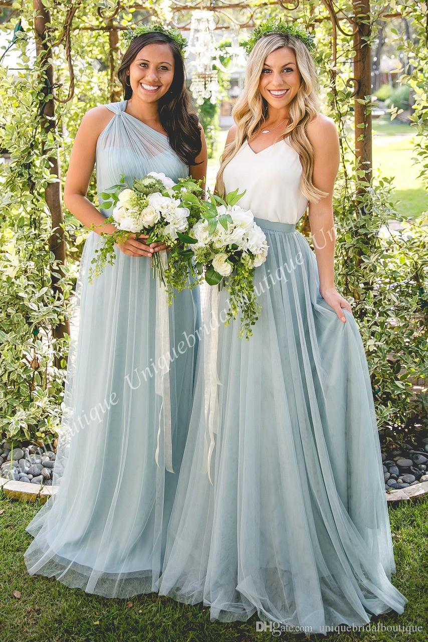 Separates Bridesmaid Dresses 2018 White Top Tulle Or Chiffon Skirt ...