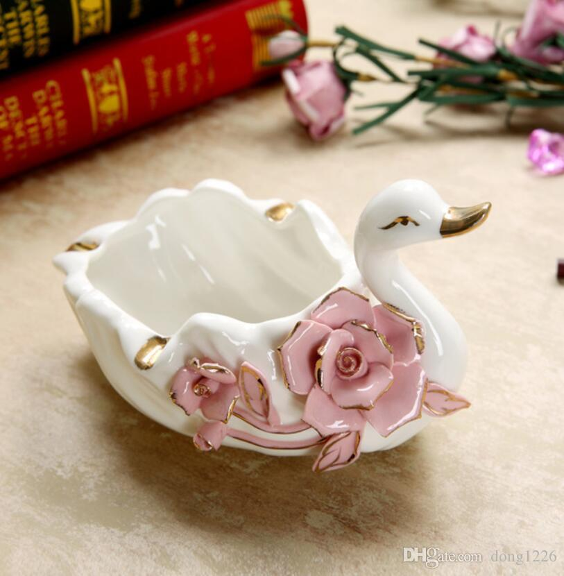 2pc ceramic swan ashtray home decor crafts room decoration handicraft ornament porcelain figurines Living room office decorations