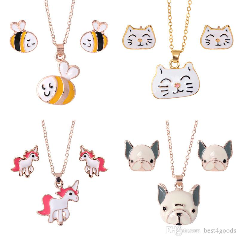 Tier Schmuck-Set Kette Kinder Schmuck Karikatur-Pferd Hund Biene Halskette Schmuck-Sets für Mädchen beste Geschenke Großhandel