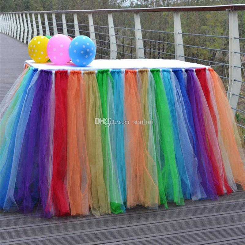 متعدد الألوان تول توتو تنورة الجدول المائدة ل حفل زفاف عيد الديكور الدانتيل الجدول غطاء المنسوجات المنزلية ديكورات WX9-870