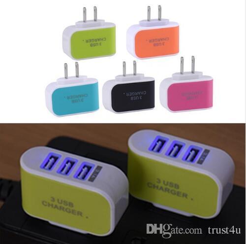 Caricabatteria da viaggio USB 3 caricabatteria da viaggio USB plug Adapter con tripla porta USB per iphone 7 samsung S8 Mobile Phone