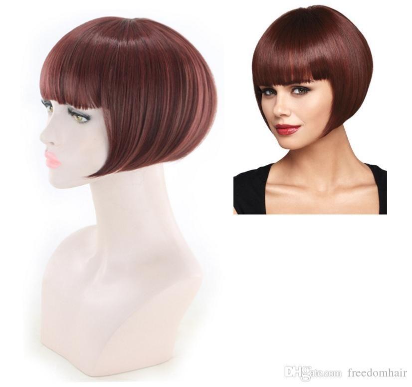 Vendita calda sintetica Capelli corti parrucca New elegante parrucca piena diritta per le donne afro-americano di nuovo stile Bobo parrucche sintetiche 99J Colore