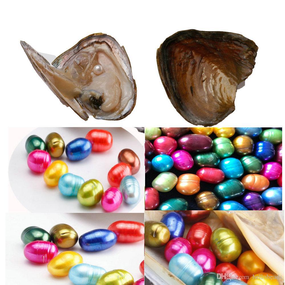 Forma de la píldora STRIPE PEARL OVAL de cáscara de agua dulce ostra perla 8-9m m colores mezclados ostra perla con el envasado al vacío de lujo del regalo