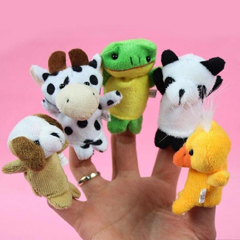 10pcs Cartoon Finger Puppet Cute Rabbit Animal Plush Toys for Children Baby Dolls for Christmas Holiday Gift Randomly Delivery
