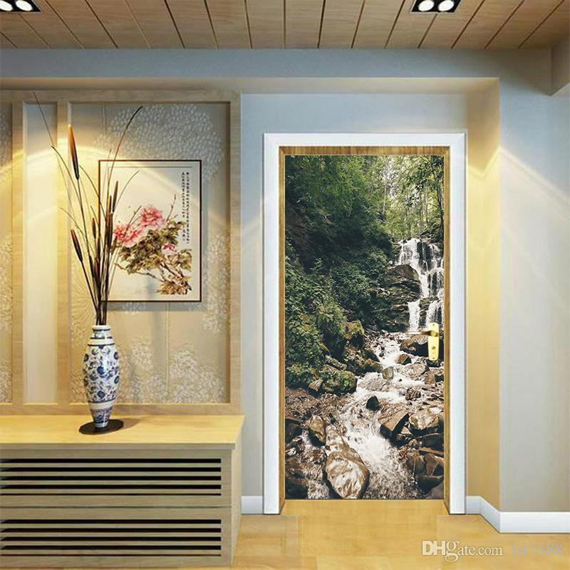 Stickers en vinyle Art Creative 3D Cascades Nature DIY Murale Affiche PVC Étanche Porte Autocollant Salon Chambre Maison Décoration