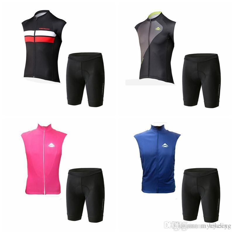 MERIDA Cycling 민소매 조끼 조끼 (bib) 반바지 세트 2019 최신 여름 사이클링 저지 ropa ciclismo 믹스 크기 허용 F0209