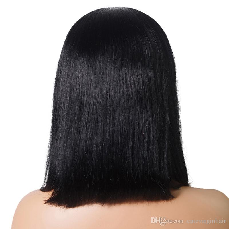 "Brazilian Human Hair Lace Front Wigs Glueless Straight Middle Part Short Bob Wigs For Black Women Natural Color 8"" 10"" 12"" 14"" Inch"