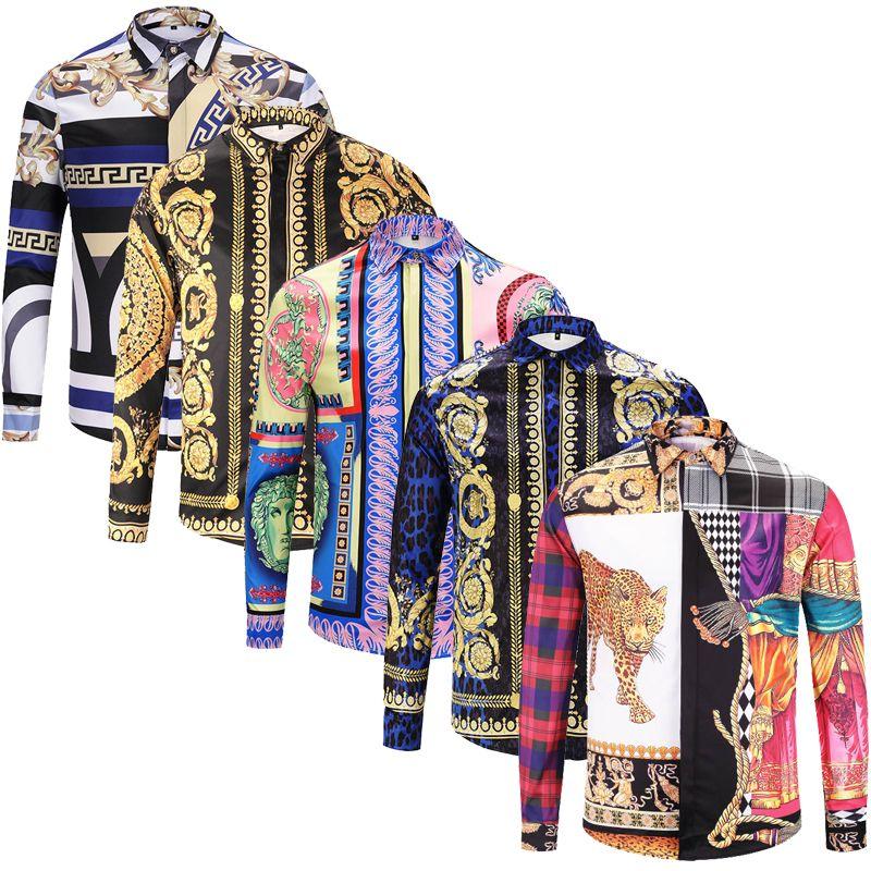 Brand New fashion long sleeve mens dress shirts Silk cotton slim fit men casual shirts luxury Medusa shirts
