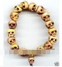 Envío gratis tibetano hueso tallado cráneo cuentas de oración pulsera