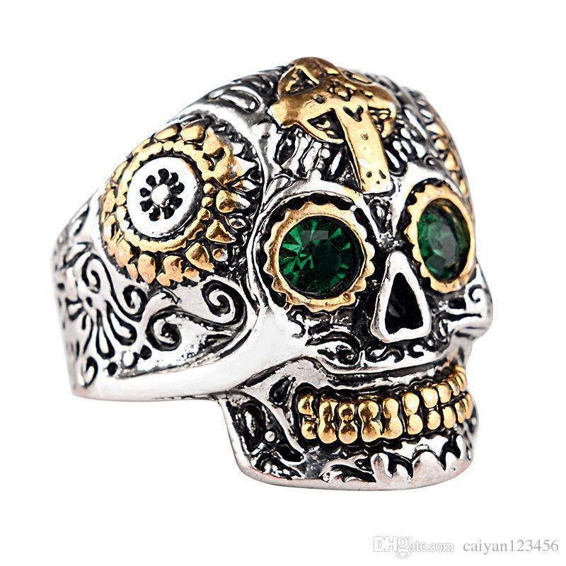 Men's Ring punk Skull Unique Gothic Punk Retro Sport Biker Skeleton Male Finger Rings a87*3