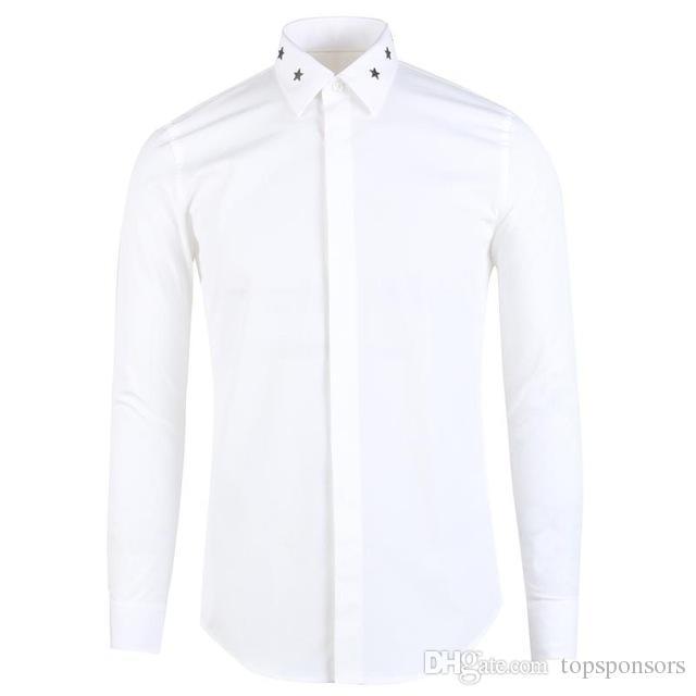 2018 новый металл пентаграмма воротник дизайн Мужские рубашки высокое качество мода с длинным рукавом повседневная рубашки мужчины плюс размер M L XL 2XL 3XL