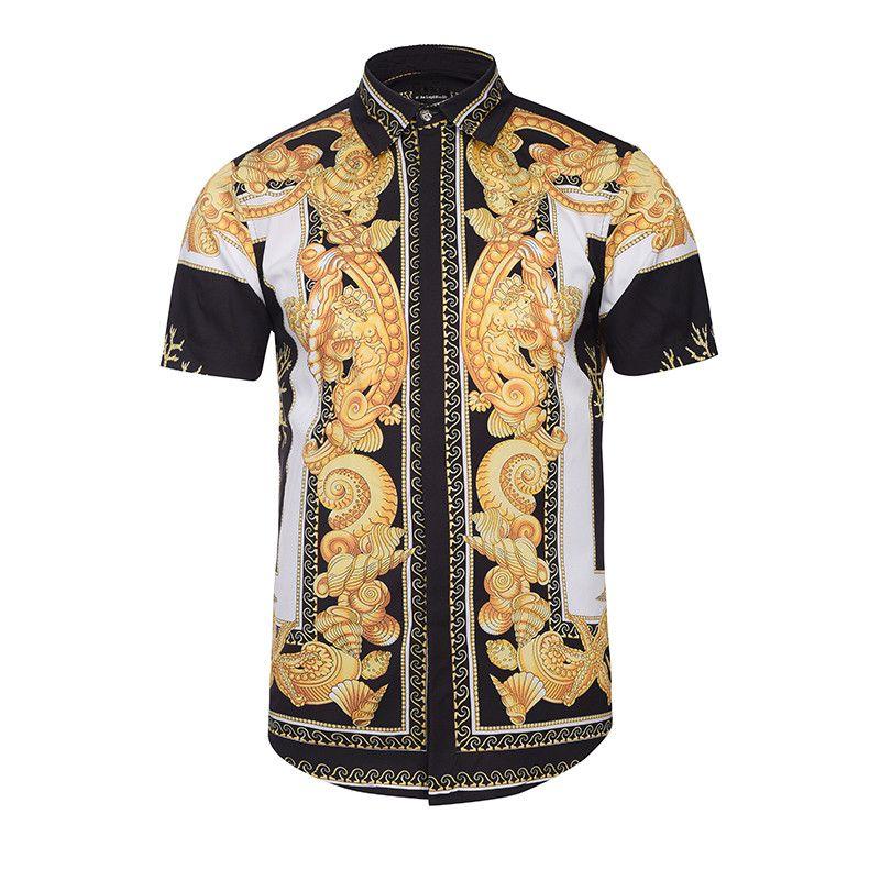 Luxury Fashion Brand Лето Осень Новые Мужские Рубашки Платья Повседневная Harajuku с коротким рукавом хлопковые рубашки для мужчин бизнес мужские рубашки