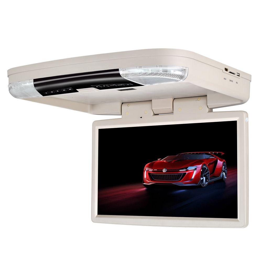 15.6 inch flip down FHD DVD player for car dvd roof mount 1080P HDMI USB SD FM IR Game