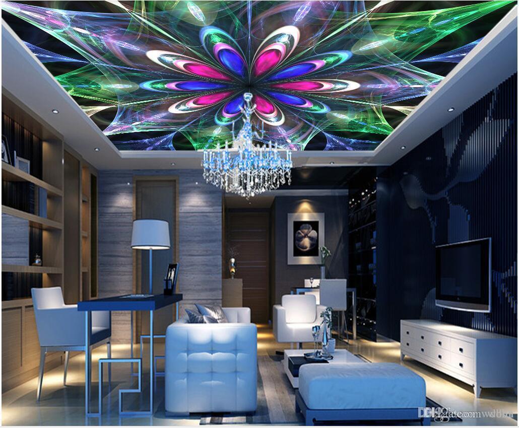 3d decke wandbilder tapete benutzerdefinierte foto vlies wandbilder Abstrakte bunte spiralförmig leuchtende Mode Decke Zenith Wandbild Adhesive Wand