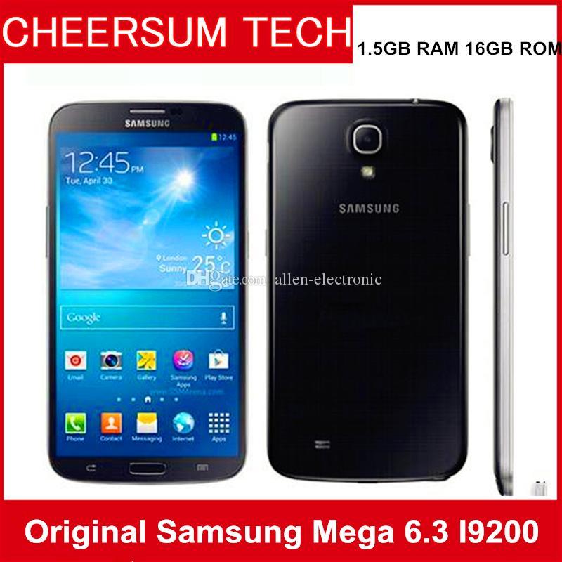 Samsung Galaxy Mega 6.3 i9200 Olåst 2G3G GSM Mobiltelefon Dual Core 6.3 '' WiFi GPS 8MP 16GB Renoverad Mobiltelefon