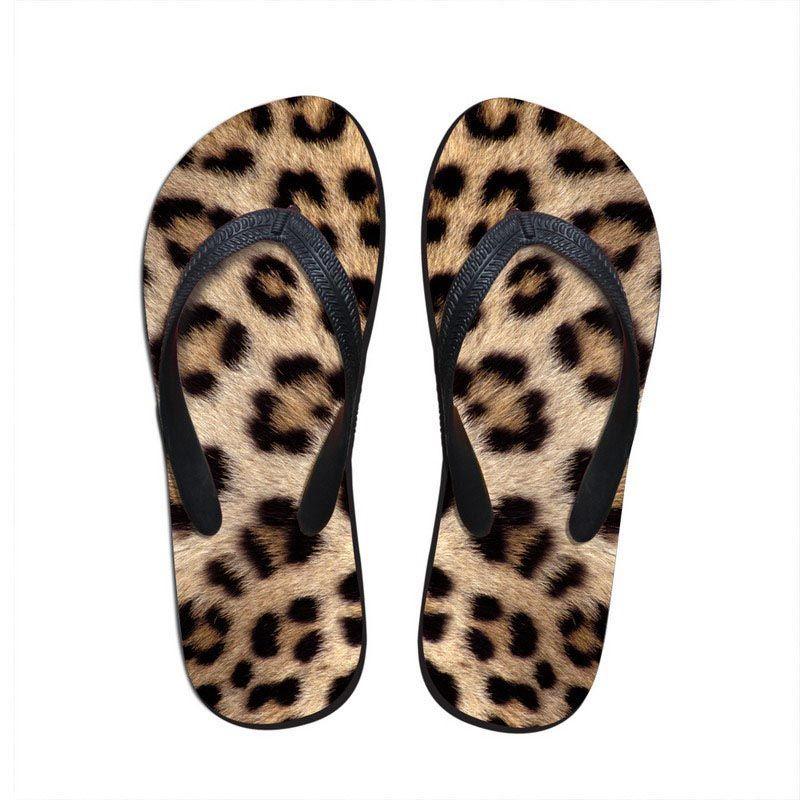 Noisydesings New Women Casual Tongs Denim imprimer 2018 motif léopard d'été plage pantoufle pour dames appartements Flip Flops