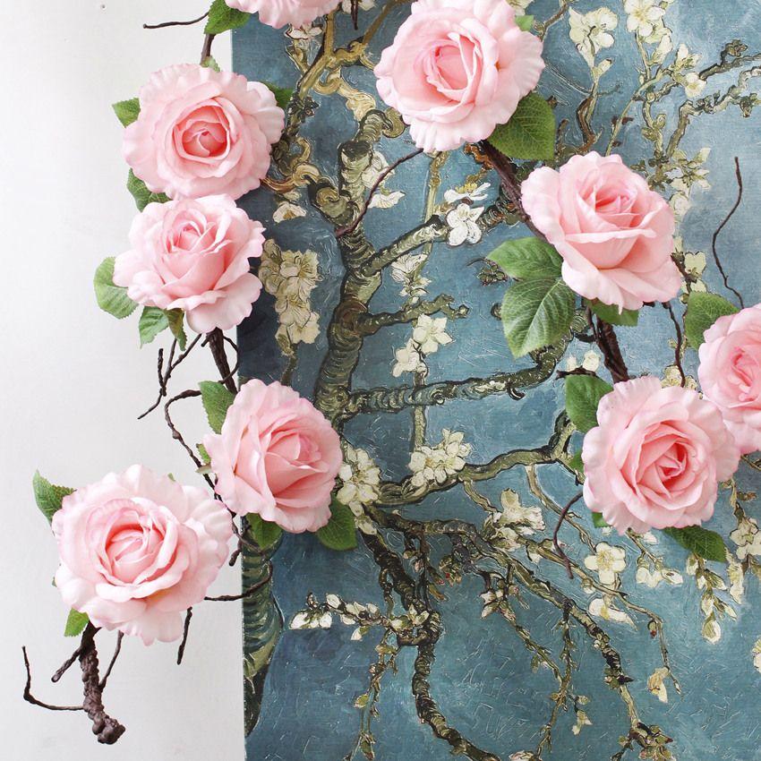 Fleur de mariage Vigne 182cm Rose Vines artificielles Soik Rose Arch de mariage Simulation Flower Rattan Branches de mousse