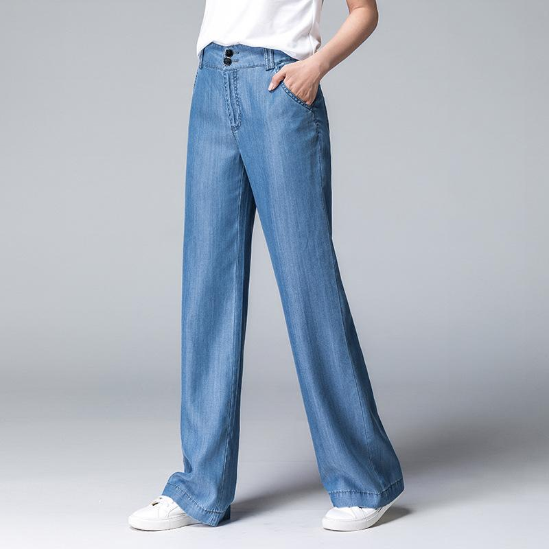 ACRMRAC Women jeans New autumn blue Bleached Slim High waist Loose Leisure Wide leg pants Full Length Lyocell jeans Women