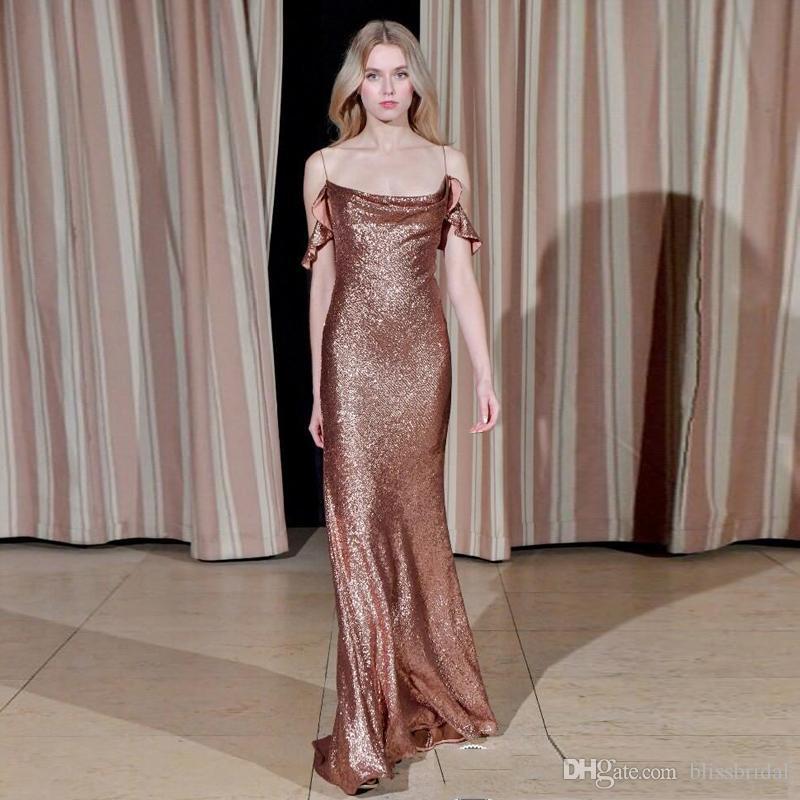 Elegant Simple Spaghetti Off Shoulder Sequins Mermaid Evening Gown Floor Length Zipper Back Prom Dresses 2019 New Arrival