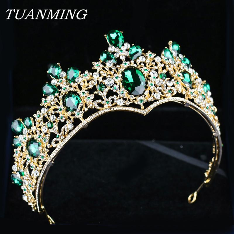 Baroque Golden Crown & Tiara Bride Headbands Green Crystal Crown Rhinestone Hair Jewelry Pageant Prom Women Head Accessories S926