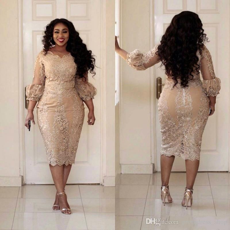 2019 Sexy Plus Size Cocktail Dresses Jewel Neck Applique 3/4 Sleeve Zipper Tea Length Prom Dress Fashion Champagne Pretty Woman Party Dress