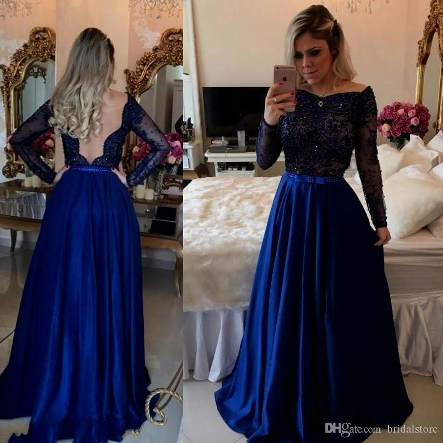 Compre Fotos Reales Royal Blue Vestidos De Fiesta Manga Larga Con Cuentas Vestidos De Noche Asequibles Uk Sexy Deep V Back Bow Sash Holiday Summer