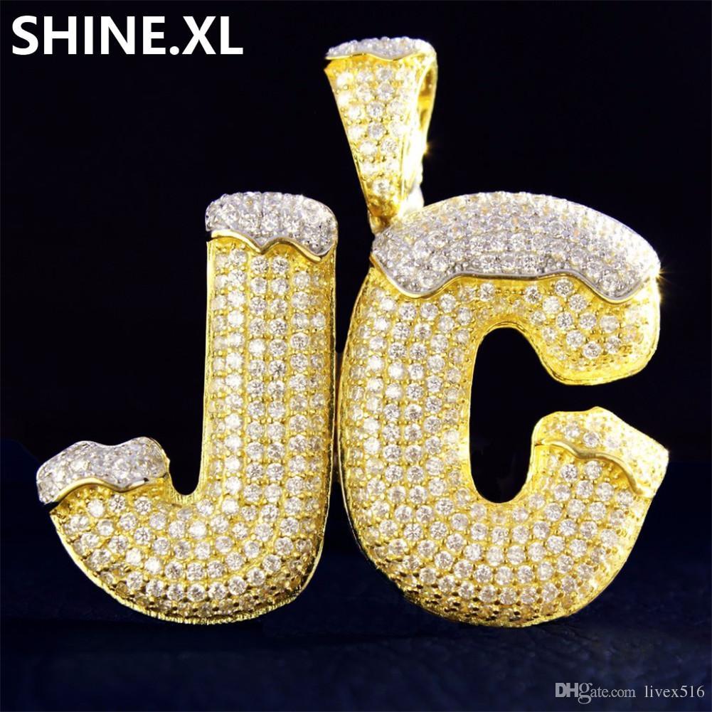 فقاعة الجديدة مخصص رسالة اسم سنو الأعلى مثلج خارج الزركون الذهب لون الفضة مطلي الهيب هوب المجوهرات عيد الميلاد هالوين هدية