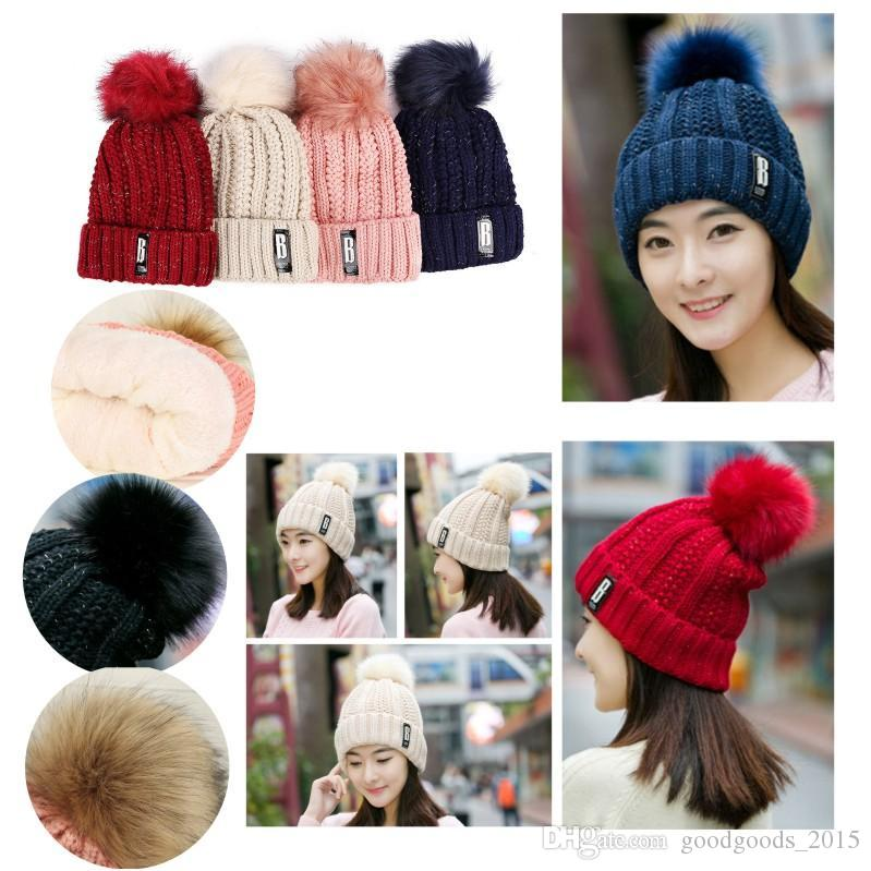 New fashion women's hats winter hat knit plus fluff ball warm letters leisure hat free shipping