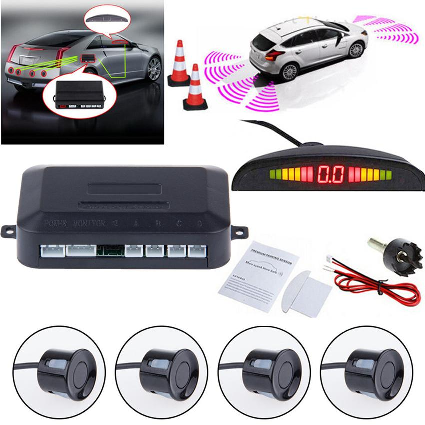 Car LED Parking Sensor Assistance Reverse Backup Radar Monitor System Backlight Display+4 Sensors car Alarm & Security GGA265