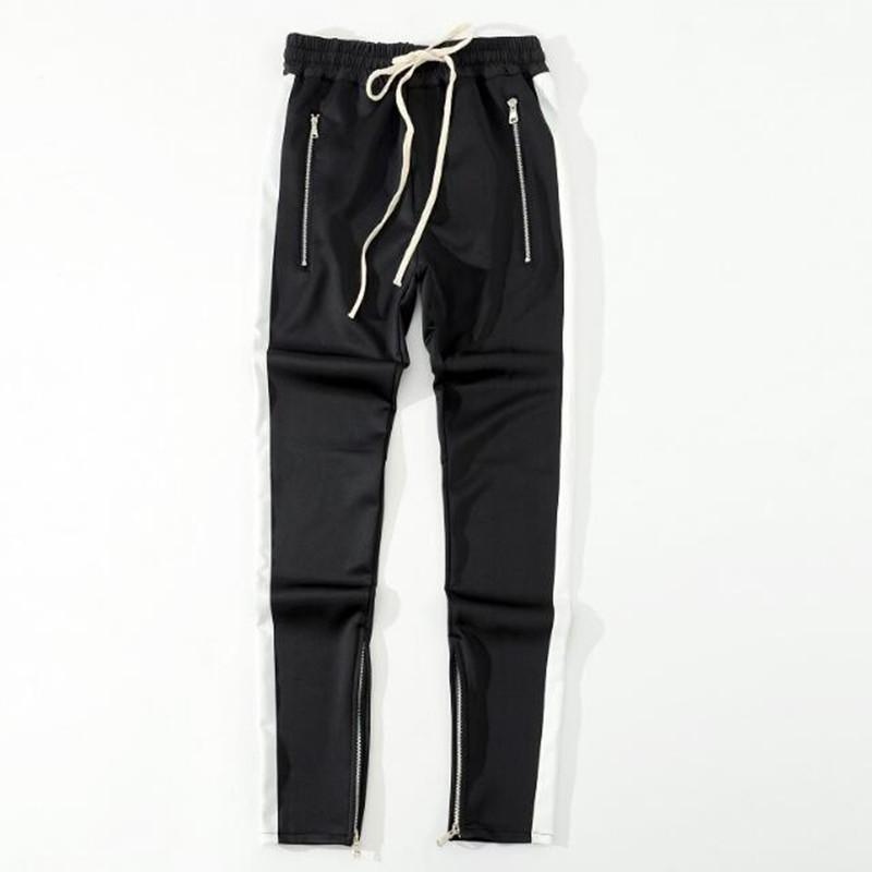 2018 Новый упрется сторона молния штаны хип-хоп моды городской одежды ВОГ объединяясь Jogger брюки черный красный синий