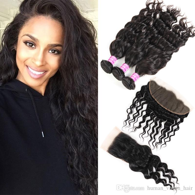 Raw Brazilian Virgin Hair Vendors Water Wave 3 Bundles With Lace Closure Frontal Human Hair Extensions Wefts Indian Peruvian Weave Bundles
