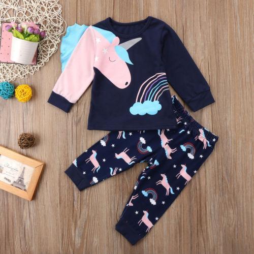 Hot Bonito 2 Pcs Crianças Roupas de Menina Do Bebê Conjuntos Unicórnio Floral T-Shirt Tops Calças Pijama Homewear Pijamas Crianças Roupas Outfits