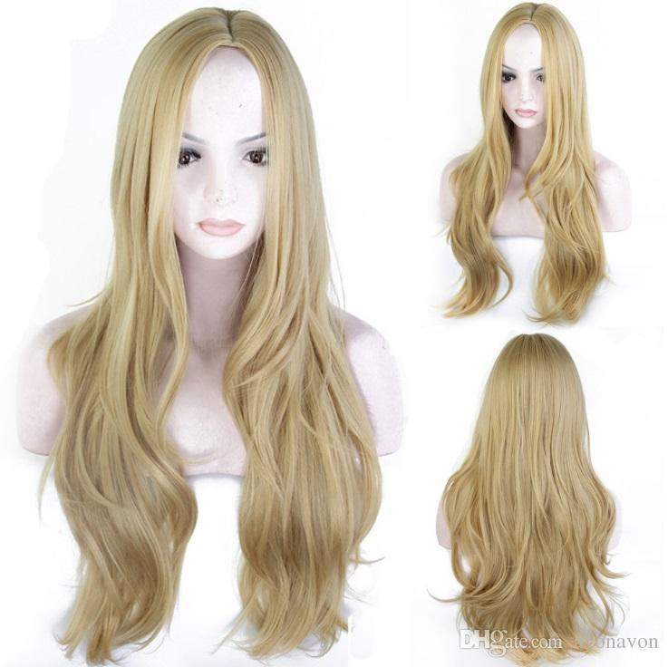 Ombre Золотой блондинка длинные вьющиеся волнистые прямые парики детские волосы высокая температура бесклеевой синтетические кружева передние парики женщины FZP50