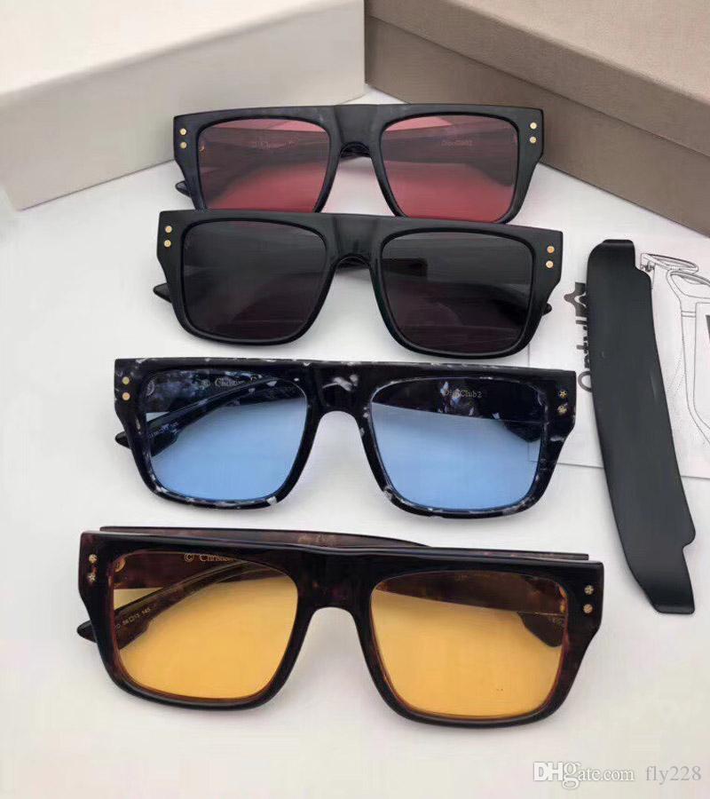 Yeni Moda Tasarımcısı Güneş Gözlüğü Gözlük Kulübü 2 Çıkarılabilir Maskeleme Çerçevesi Süs Gözlük UV400 Koruma Lens En Kaliteli Basit Açık