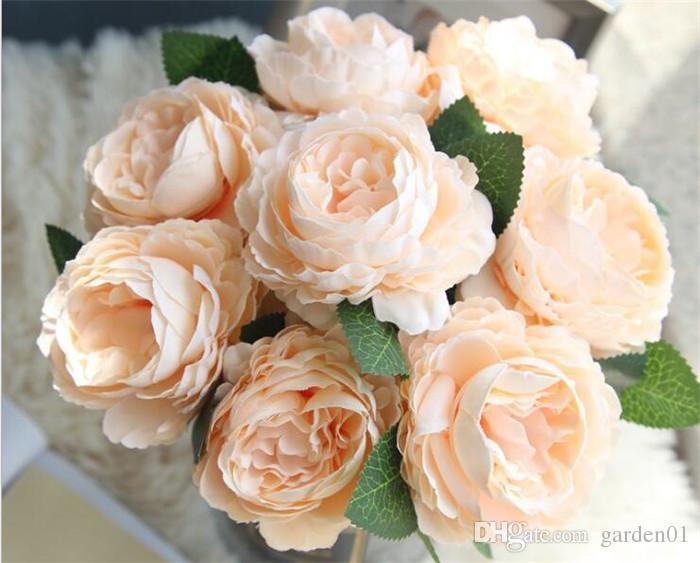 100pcs Silk flowers artificial flower wedding bouquet roses dahlias fall vivid fake leaf wedding flower bridal bouquets decoration G373
