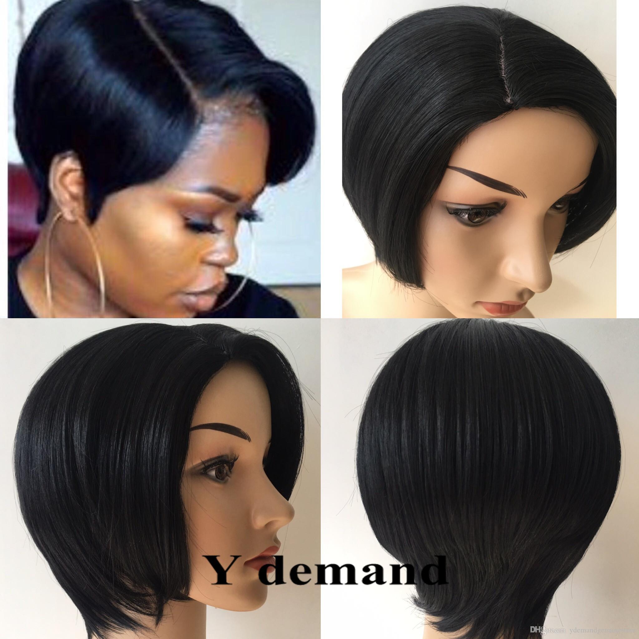 Top qualité courte Pixie brésilienne Simulation perruques de cheveux humains sans colle dentelle pleine avant coupe synthétique perruques de cheveux pour les femmes noires