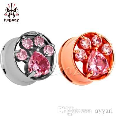 HOT moda rosa de aço inoxidável de ouro tampões de ouvido túneis de ouvido de cristal duplo alargado calibre ouvido par venda 2 pçs / lote